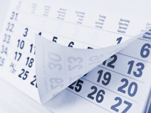 ingezoemde hoek van een kalenderblad