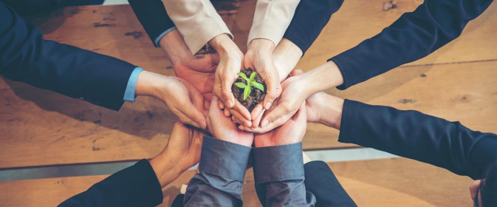 Duurzaam team die samenwerkt